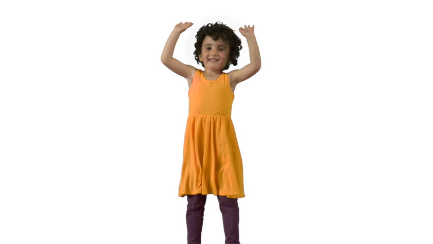 Little girl jumping on trampoline shooting with high speed camera, phantom flex.
