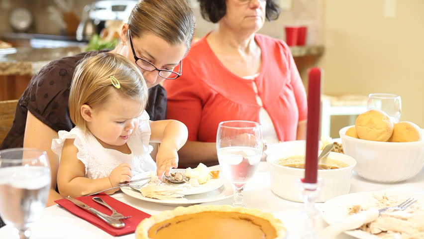 Family Eat Thanksgiving Dinner Stock Footage Video 100 Royalty