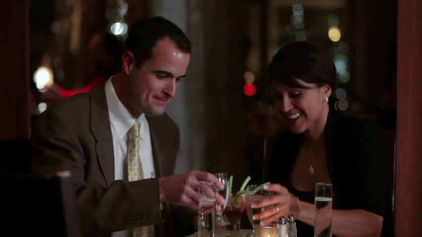 Couple enjoying dinner at a fancy restaurant