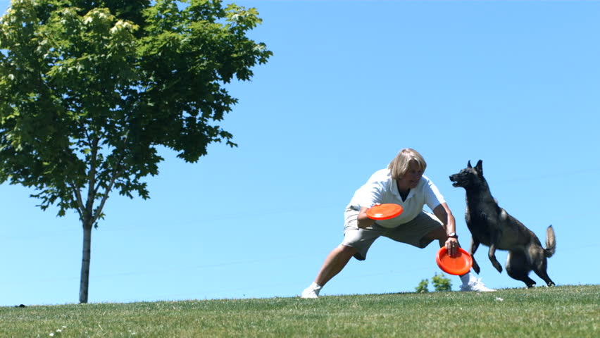 Dog jumps of woman's back and catches frisbee, slow motion