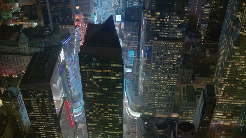 Aerial shot of New York at night  #4657481
