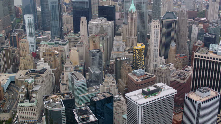 Aerial shot of New York City financial district | Shutterstock HD Video #4662053