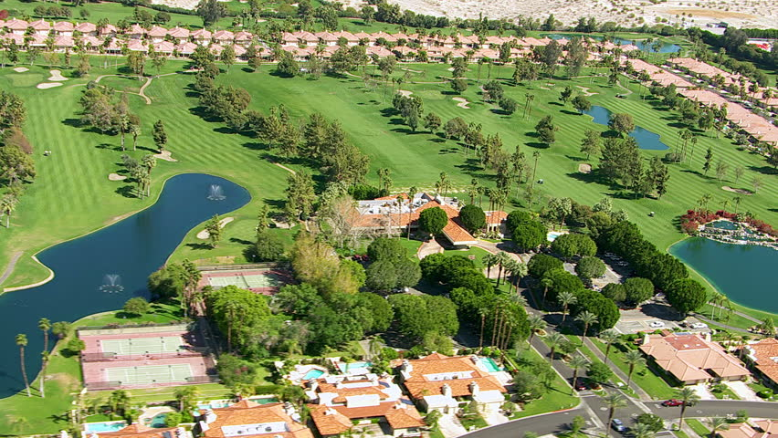 Aerial shot of Palm Springs, California golf course