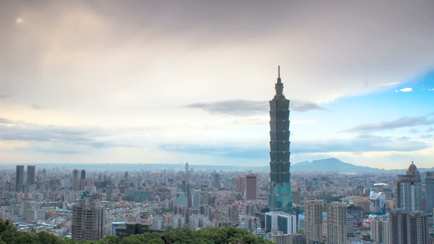 beautiful view of Taipei city, Taiwan (time lapse)