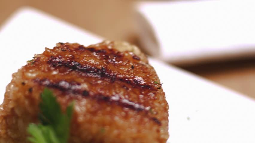 Delicious and fresh plate of Yaki Onigiri.