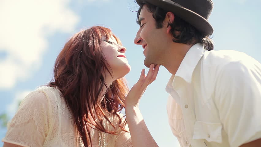 Cute Couple Kiss With Affection Stock Footage Video 100