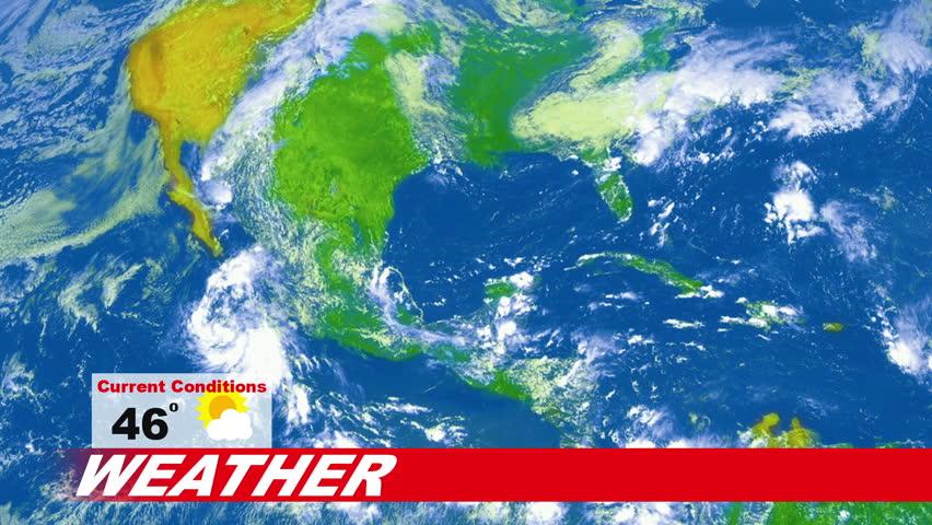 Weatherman in news studio giving weather forecast