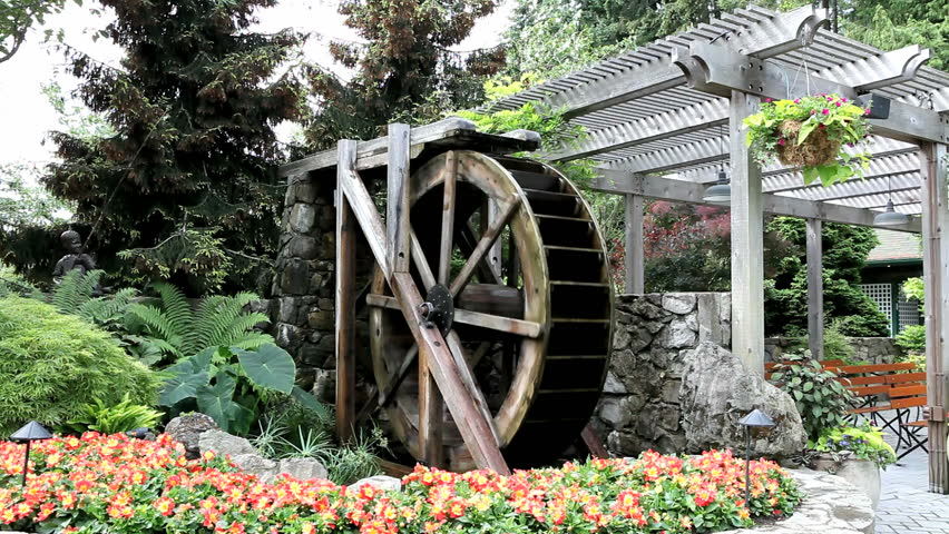 Water Wheel In Butchart Garden, Vitoria, BC Stock Footage Video 469543 |  Shutterstock