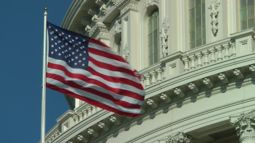 US Capitol building, American Flag, close