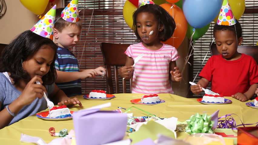Children Eating Birthday Cake Stock Footage Video 4741613 Shutterstock