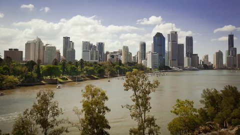 Time-lapse of Brisbane skyline with river and city cat