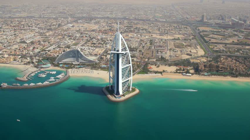 DUBAI, UNITED ARAB EMIRATES - MARCH 5, 2013: Aerial view of Dubai, Burj al Arab and Jumeirah Beach