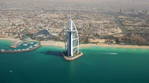 DUBAI, UNITED ARAB EMIRATES - MARCH 5, 2013: Aerial view of Dubai, Burj al Arab and Jumeirah Beach