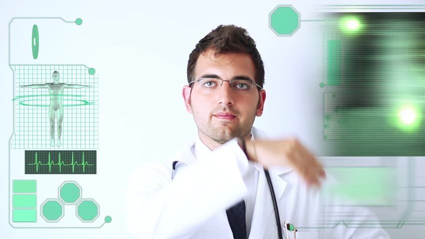 Montage images of medical researcher using 3D touchscreen virtual scientific laboratory research and hospital patients.