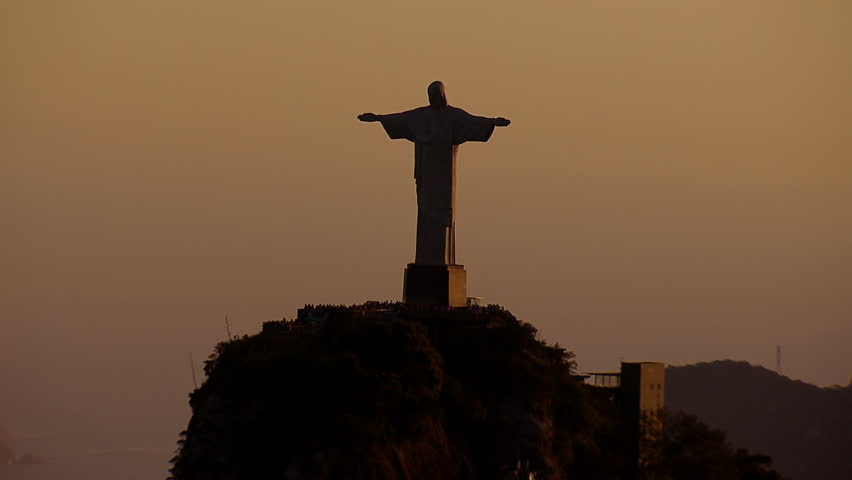 Christ the Redemeer Statue at Sunset cineflex aerial, Rio de Janeiro, Brazil