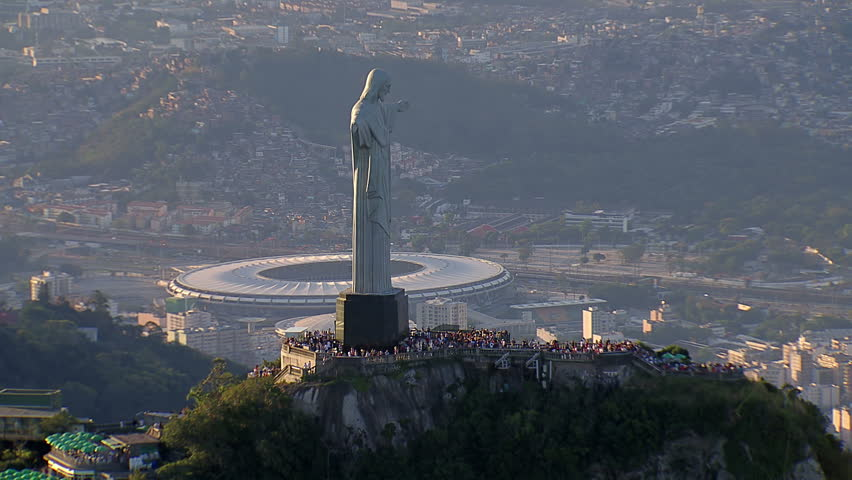 Aerial view of Christ the Redemeer Statue and Maracana Stadium, Rio de Janeiro, Brazil