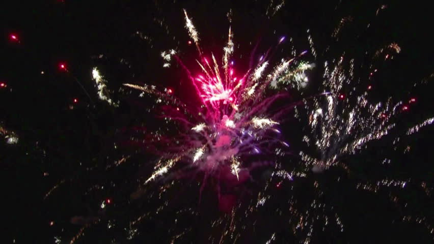 Variegated colorful fireworks on the black sky. | Shutterstock HD Video #4784513