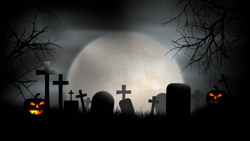 Halloween Graveyard Background Loop A Creepy Scene With Graves Evil Pumpkins And