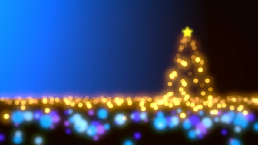 Christmas scene with tree and lights - blue variant - Loopable