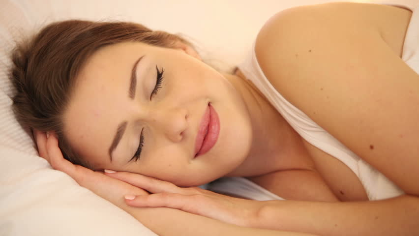 Cute Girl Sleeping In Bed Opening Her Eyes And Smiling Then Falling Asleep  Again. Panning Camera Stock Footage Video 4812203 | Shutterstock