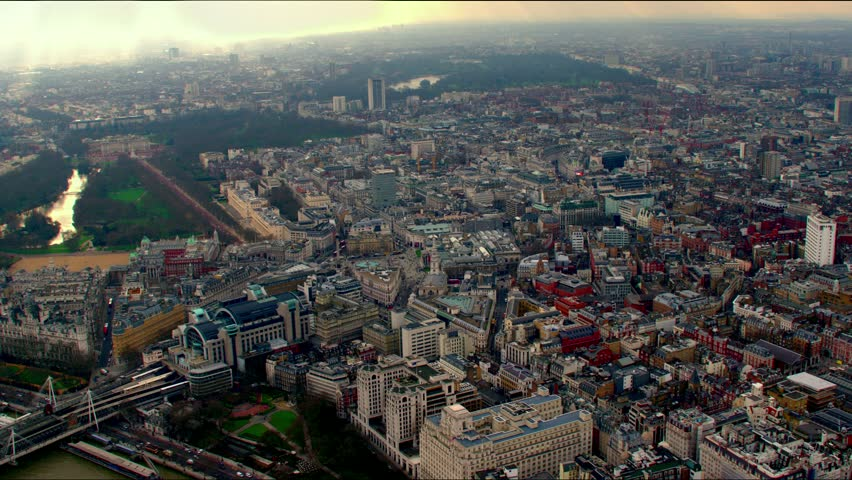 Aerial shot over the Whitehall district in Westminster, central London, UK. Shows well known areas & landmarks including St Jame's Park, Downing Street, Buckingham Palace & Trafalgar Square.
