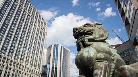 The bronze lion sculpture in Beijing Financial Street,Beijing,China