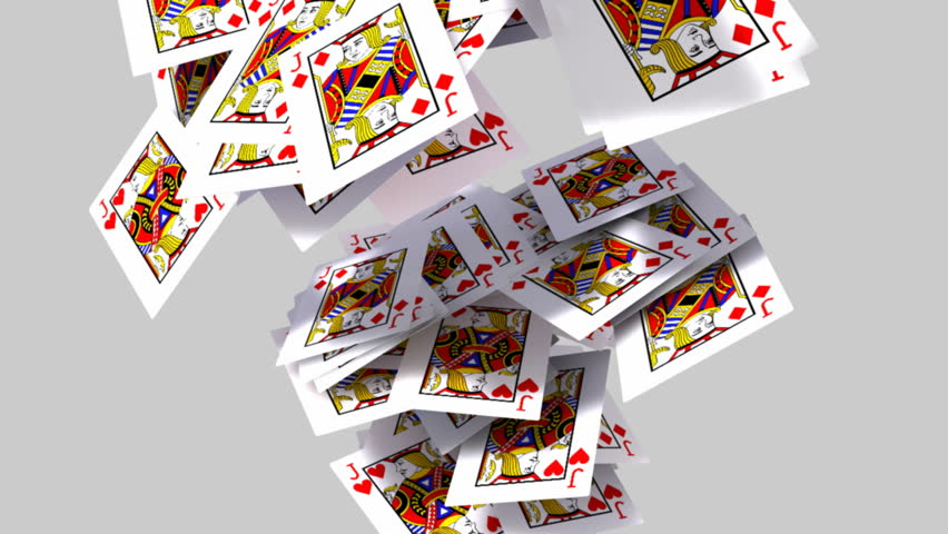 A collection of jack of hearts playing cards falling across the screen on an isolated light background