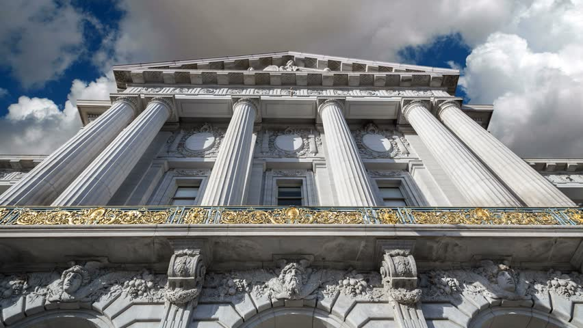 San Francisco City Hall building with time lapse clouds.