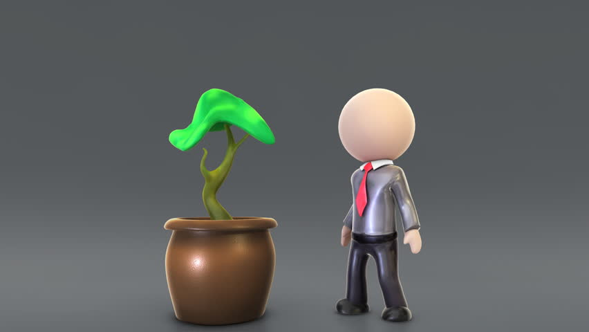 An Investor Grows up Symbolic Money Tree.   With Alpha and Color Coded Masks