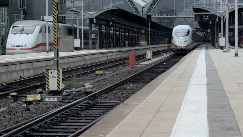FRANKFURT, GERMANY - OCTOBER 12: A German highspeed ICE train is leaving main station Frankfurt on October 12, 2013