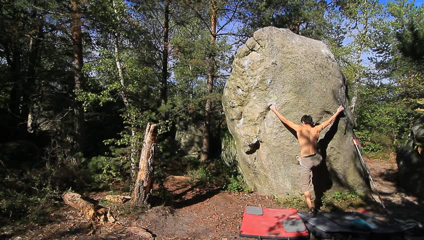 Bouldering in the Forest of Stock Footage Video (100% Royalty-free) 4872113  | Shutterstock