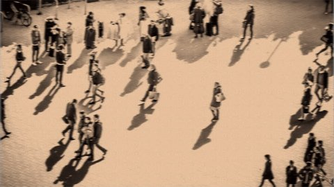 Busy city street with people walking fast, time lapse with Vintage effect