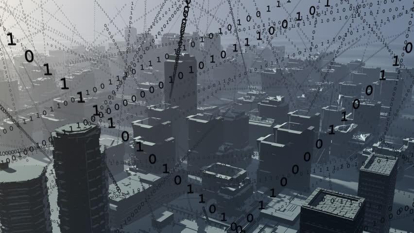 City full of data. Streams of binary code fill a city skyline.