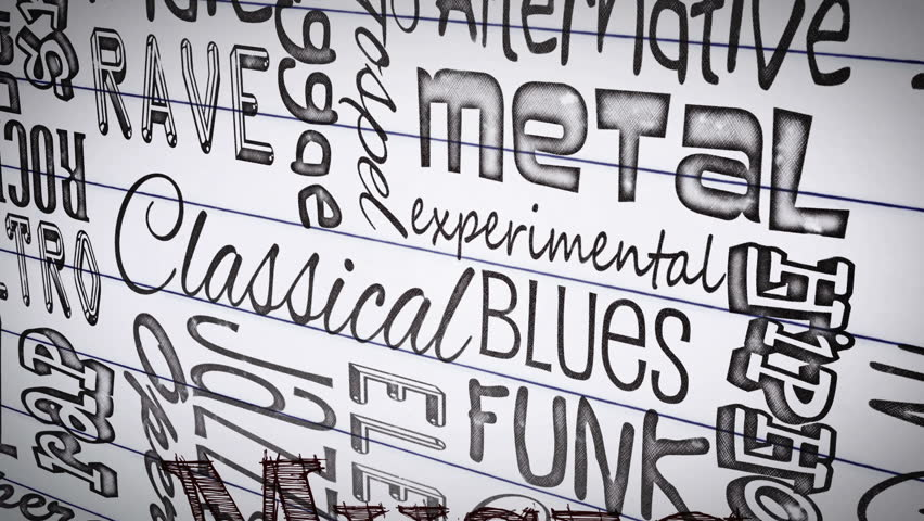 Animation of different music styles appearing on a paper | Shutterstock HD Video #4883543