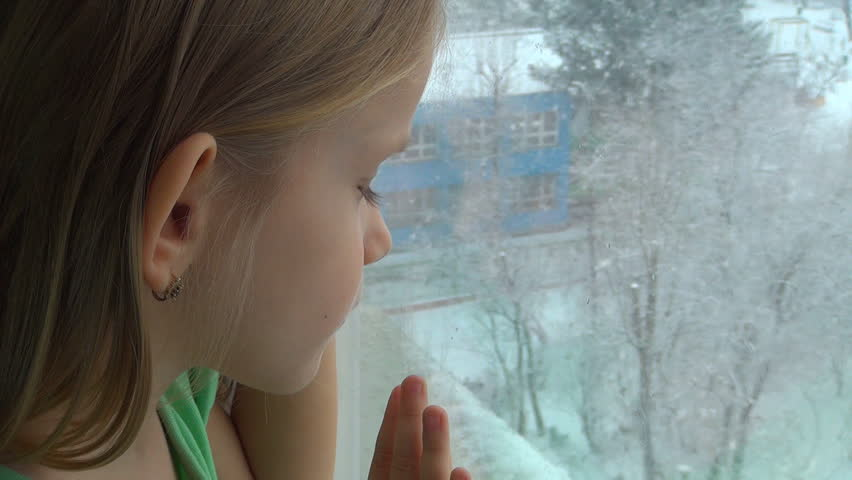 Unhappy, Sad Caucasian Child Looking Out Window, It's Snowing, Depressed Blonde Little Girl, Children