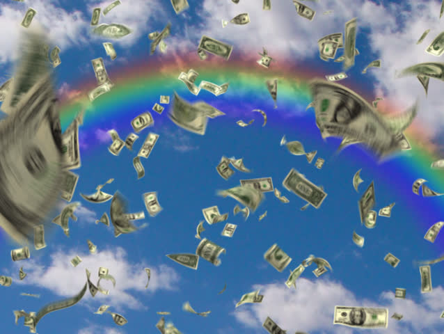 It's Raining Money! Ones, fives, tens, twenties, fifties and hundreds raining over the promise of the rainbow. If looped continuously the movie will repeat smoothly and money will rain forever. | Shutterstock HD Video #4901633