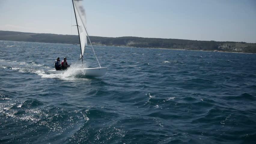 Sailors sailing on restless sea | Shutterstock HD Video #4910813