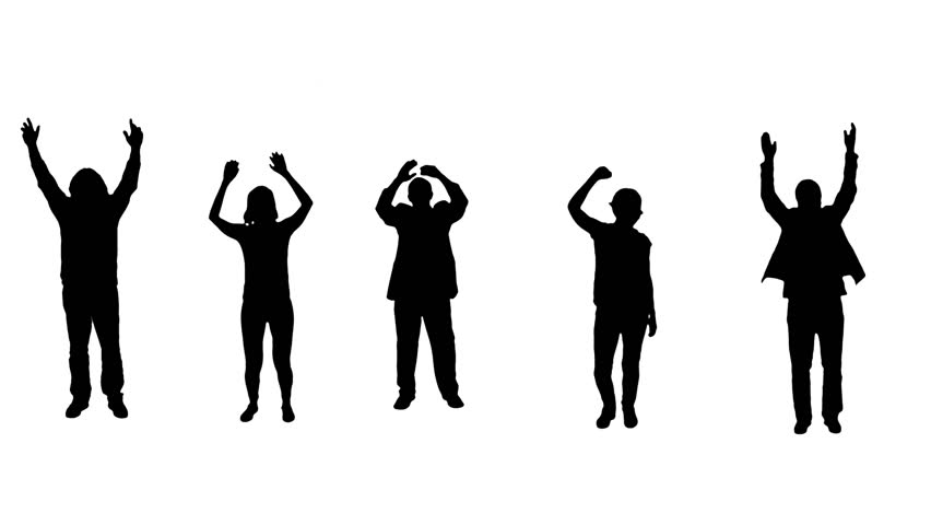 Cheering crowd. Multiple silhouettes clapping and weaving hands. Alpha matte.  More options in my portfolio.