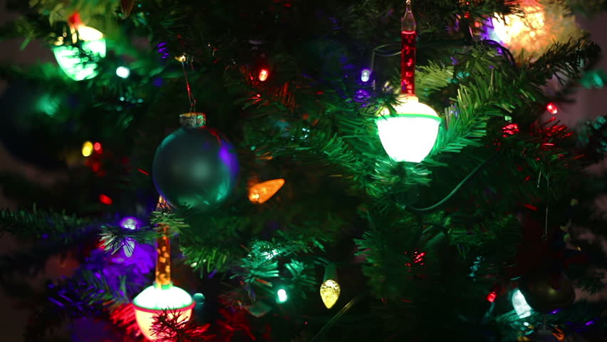 Closeup Of A Christmas Tree, Focusing On The Bubble Lights And ...