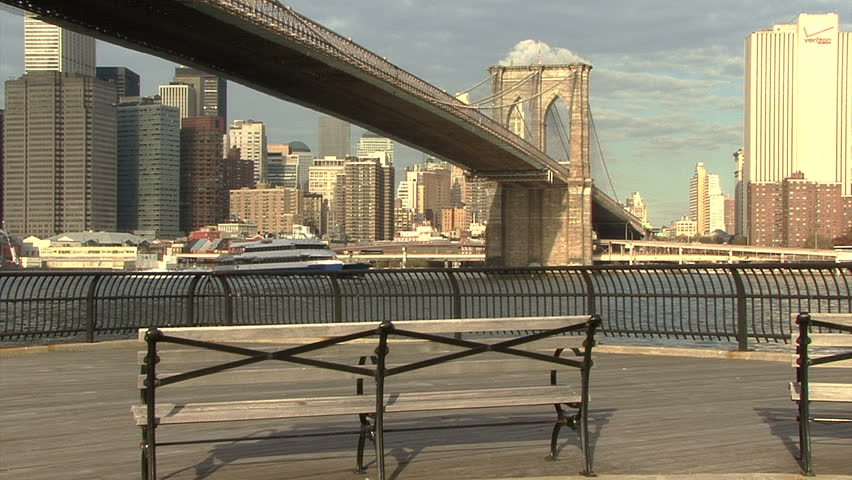 Brooklyn Bridge with New York Skyline, boat passing | Shutterstock HD Video #4927553