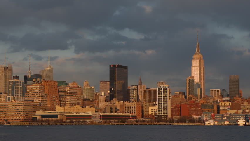 Golden Sunset Light Manhattan New York City Nyc Skyline Apartments Buildings