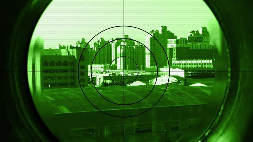 Sniper scope in night vision look