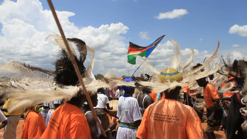 SUDAN - October 2010: South Sudanese tribal dance with large feathered hats
