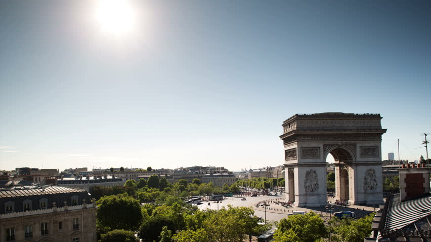 Timelapse of the arc de triomphe, paris on a beautiful summer's day shot from a unique vantage point