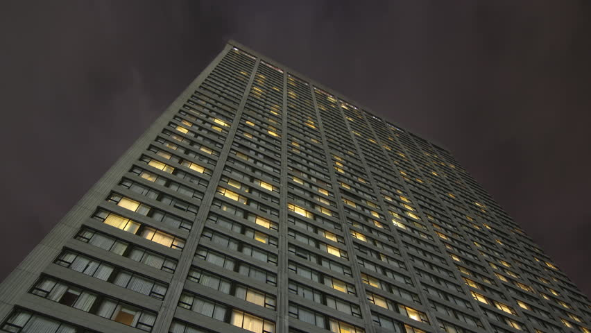 Hotel at night. Timelapse at night. Clip is assembled from hi-res stills taken with a Canon 550D camera.