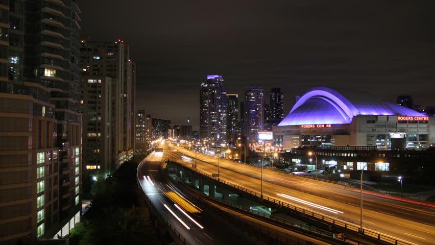 TORONTO, CANADA on OCTOBER 4th: Gardiner expressway in Toronto, Canada on October 4th, 2013.  The Frederick G. Gardiner Expressway is a municipal expressway serving traffic in downtown Toronto.