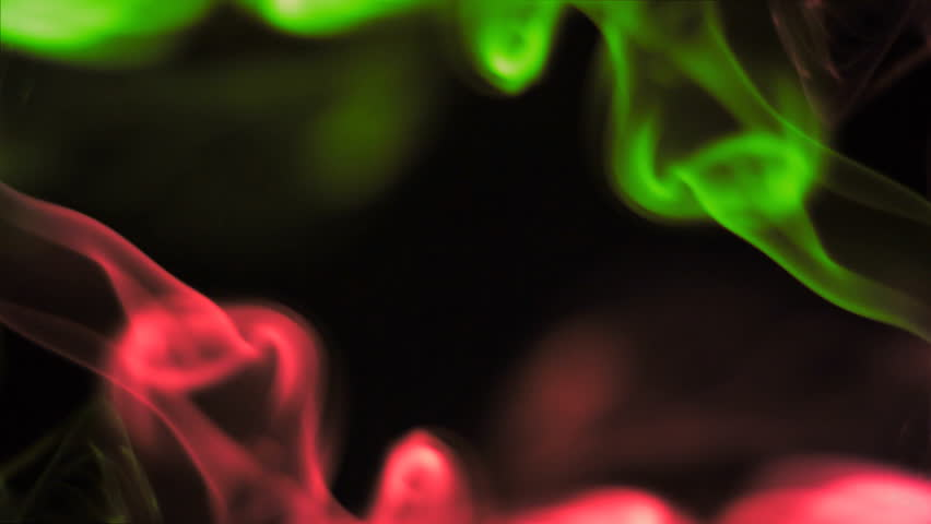 Spin Of Multicolor Smoke In Black Background, Visual Effects Stock ...