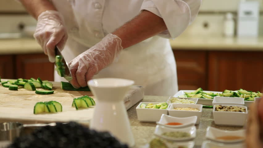 Dolly Shot of Chef Chopping Vegetables Food Prep Kitchen Restaurant Culinary Fresh Cutlery Cooking #4955663