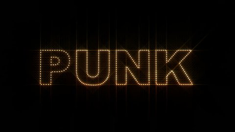 Set of 10 Punk text LEDS reveals with alpha channel
