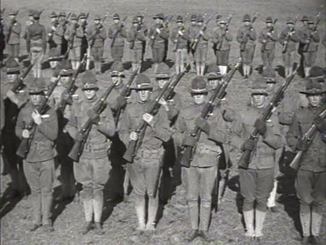 1910s - The army is trained for combat in World War One.